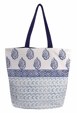 Beautiful Pattern Cotton Canvas Tote Bag Handbags Shoulder Bags Boho Henna Blue