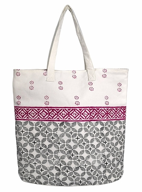 Beautiful Pattern Cotton Canvas Tote Bag Handbags Shoulder Bags Boho Magenta