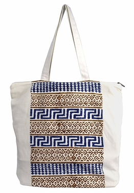 Beautiful Pattern Cotton Canvas Tote Bag Handbags Shoulder Bags Boho Navy Brown