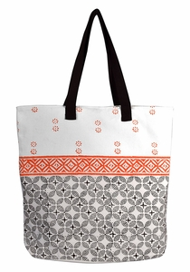 Beautiful Pattern Cotton Canvas Tote Bag Handbags Shoulder Bags Boho Orange