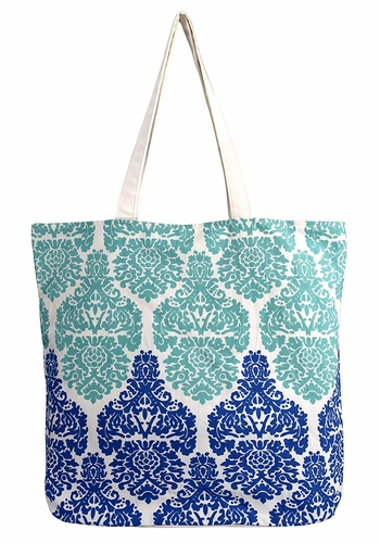 Beautiful Pattern Cotton Canvas Tote Bag Handbags Shoulder Bags Boho Teal