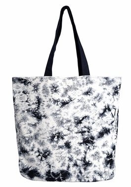 Beautiful Pattern Cotton Canvas Tote Bag Handbags Shoulder Bags Boho Tie Dye Black