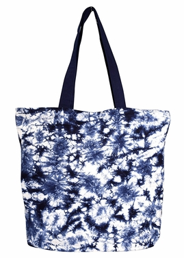 Beautiful Pattern Cotton Canvas Tote Bag Handbags Shoulder Bags Boho TieDye Midnight Blue