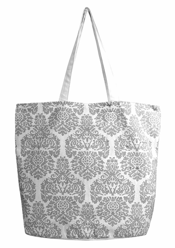 Beautiful Pattern Cotton Canvas Tote Bag Handbags Shoulder Bags Damask Grey