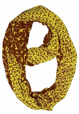 Beautiful Vintage Two Colored Bird Print Infinity Loop Scarf (Brown/Yellow)