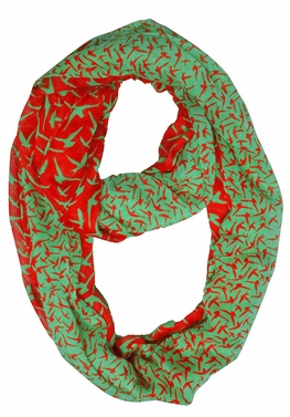 Beautiful Vintage Two Colored Bird Print Infinity Loop Scarf (Green and Coral)