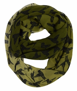 Beautiful Vintage Two Colored Bird Print Infinity Loop Scarf (Hunter Green/Black)