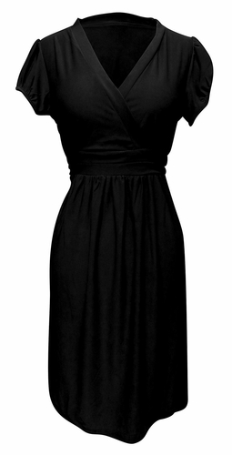 Beautiful Womens Cap Sleeve Casual V Neck Mini Day Skater Dress (Black)