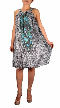 Beauty in Charleston Frock Midi Dress Embellished Tunic Neckline (Turquoise)