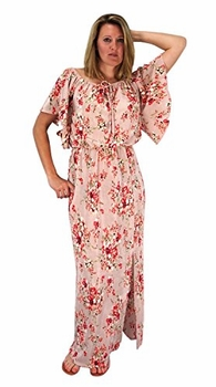 Bell Sleeves Floral Print Pleat Fabric Tiered Side Slit Maxi Dress Mauve