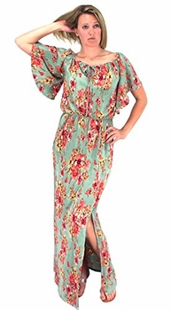 Bell Sleeves Floral Print Pleat Fabric Tiered Side Slit Maxi Dress Mint