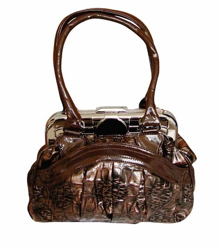 Shell Style Metal Embellished Clasp Top Handle Handbag Purse (Coffee)
