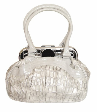 Shell Style Metal Embellished Clasp Top Handle Handbag Purse (Cream)