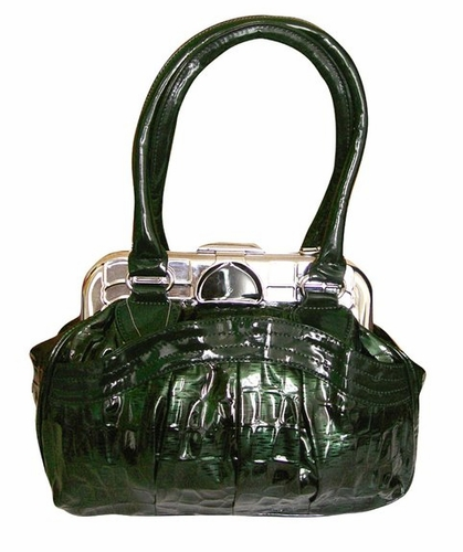 Shell Style Metal Embellished Clasp Top Handle Handbag Purse (Green)