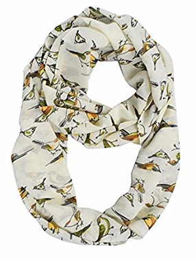 Women`s Bird Print Infinity Loop Scarf - Grey