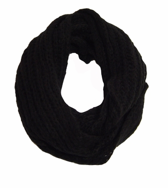 Black Knitted Infinity Loop Scarf