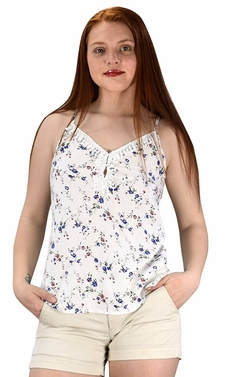 Blossoms Print Laced Neck line Spaghetti Strap Blouse Top Shirt