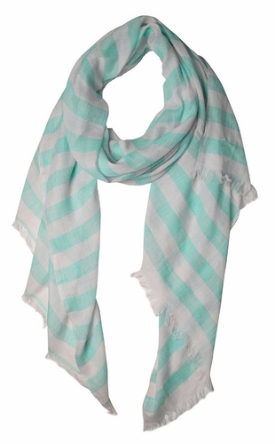 Lightweight Sailor Nautical All Seasons Striped Scarf Wrap Shawl (Blue/White )