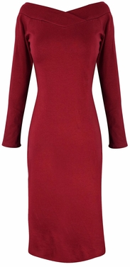Bodycon Bodice Slim Fit Evening Dress (Maroon)