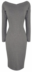Bodycon Bodice Slim Fit Evening Dress (Ribbed Grey)