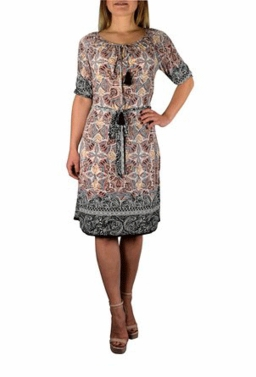 Bohemian Floral Pattern Long Sleeve Beige Midi Dress with Tassels