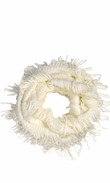 Warm Bohemian Crochet Hand Knitted Fringe Infinity Loop Scarf Wrap White Square