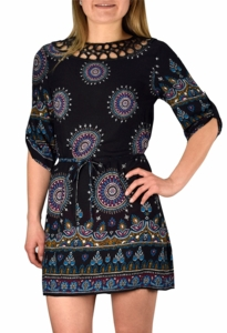 Bohemian Neck Tie Vintage Ethnic Style Summer Shift Dress (Black)