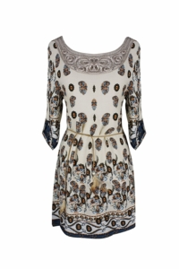 Bohemian Neck Tie Vintage Ethnic Style Summer Shift Dress (Cream)