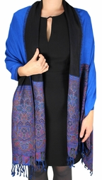Boho Paisley Reversible Double Layer Pashmina Shawl (Blue)