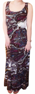 Boho Trendy Paisley Maxi Tank Colorful Blouson Dress (Burgundy)