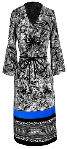 Boho Tribal Surplice Mid-Length Shift Dress with 3/4 Bell Sleeves (Black & White)