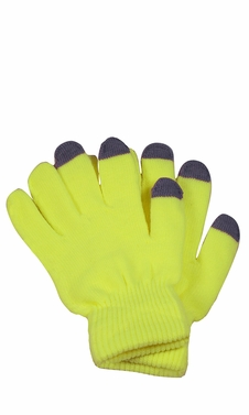 Bright Neon Texting Winter Gloves For iPhone iPad Android Any Touch Screen Neon Yellow