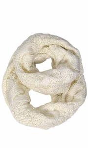 Cable Knit Chuny Winter Warm Infinity Loop Scarves Cream 87