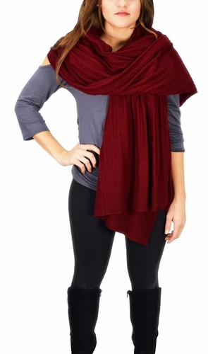 Cable Knit Warm Soft Certified Cashmere Oversized Scarf Shawl (Maroon)