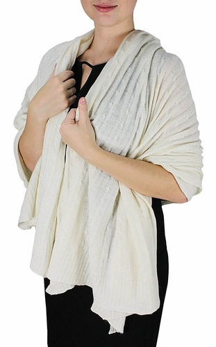Cable Knit Warm Soft Certified Cashmere Oversized Scarf Shawl (Off White)