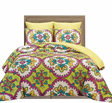 Camellia Reversible Vintage Vibrant Floral Design Soft Touch 6 Piece Comforter Bed Set (Sage, King)