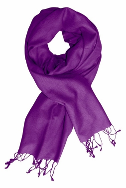 Soft Elegant Cashmere & Silk Pashmina Shawl (Purple)