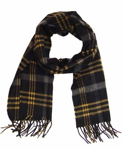 Cashmere Feel Mens Scarves (Black/Charcoal/Tan)