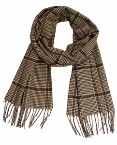 Cashmere Feel Men Scarf (Brown Hounds tooth)