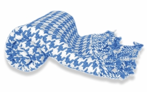 Ultra Soft 100% Cashmere Hand knitted  Houndstooth Throw Blanket  (Blue)