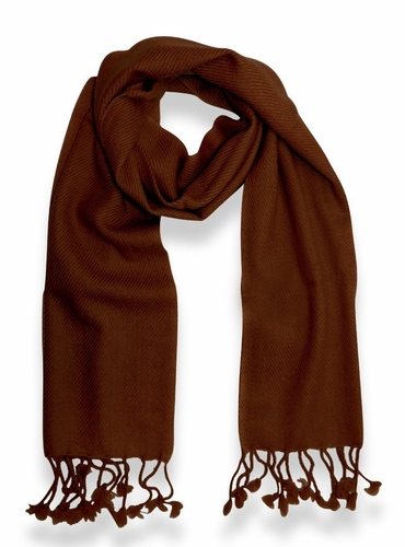 Classic Solid 100% Cashmere Scarf (Chocolate Brown)