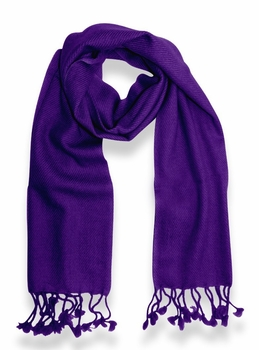Classic Solid 100% Cashmere Scarf (Purple)