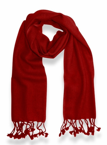 Classic Solid 100% Cashmere Scarf (Red)
