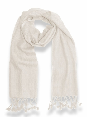 Classic Solid 100% Cashmere Scarf (Off-White)
