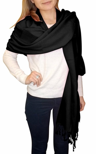 Ultra-Soft 100% Cashmere Wrap  (Black)
