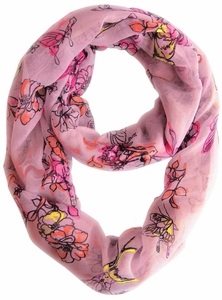 Cherry Blossom Floral Print Infinity Loop Scarf (Pink)