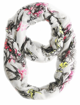 Cherry Blossom Floral Print Infinity Loop Scarf (White)