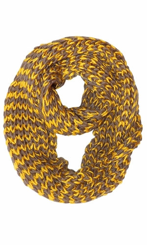 Chevron Design Hand Knit Multicolor Thick Chunky Versatile Infinity Loop Scarves (Yellow)
