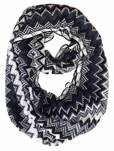 Chevron Multicolored Zigzag Knitted Loop Scarf Available in Many Colors (Black/White)