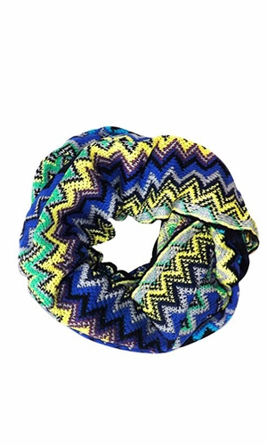 Chevron Multicolored Zigzag Knitted Loop Scarf Available in Many Colors (Blue)